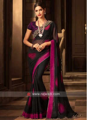 Chiffon Shaded Sari with Net Blouse