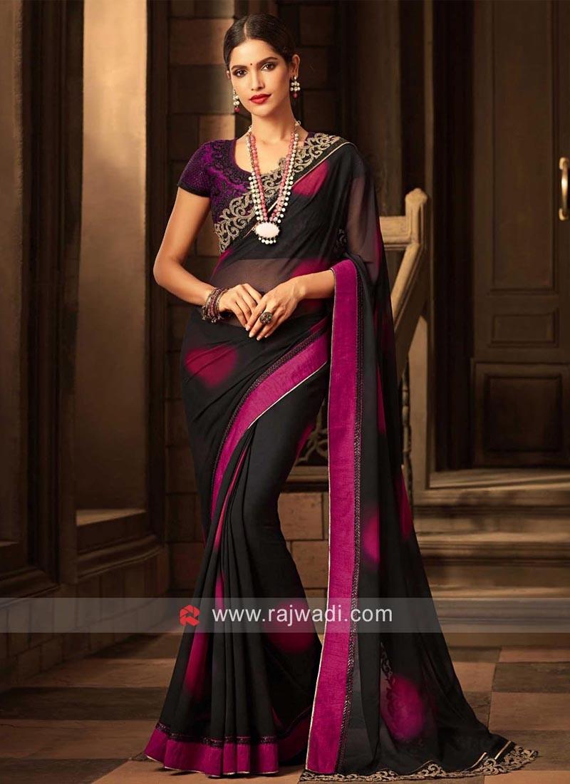 Chiffon Shaded Sari with Net Blouse