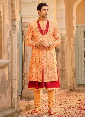 Chiffon Silk Anarkali Style Groom Sherwani