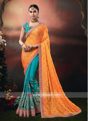 Chiffon Silk and Art Silk Half n Half Saree