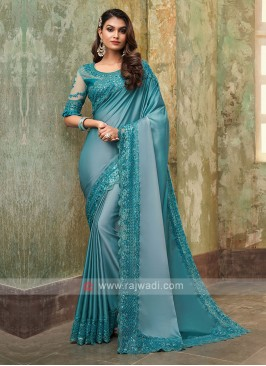 Chiffon Silk Aqua Blue Saree