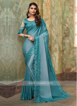 Chiffon Silk Aqua Blue Saree