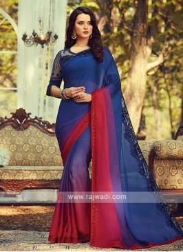 Chiffon Silk Blue And Red Shaded Saree