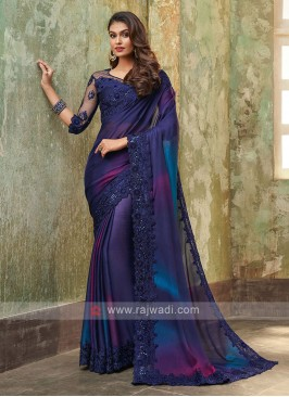 Chiffon Silk Blue Saree