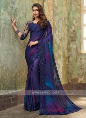 Chiffon Silk Blue Saree