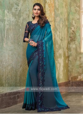Chiffon Silk Blue Shaded Saree