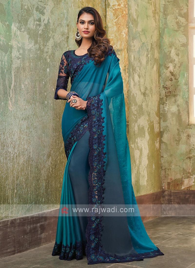 Chiffon Silk Blue Shaded Saree