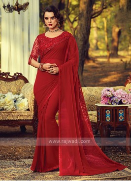 Chiffon Silk Border Work Red Saree