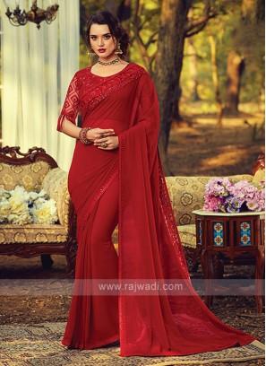 Chiffon Silk Border Work Red Saree