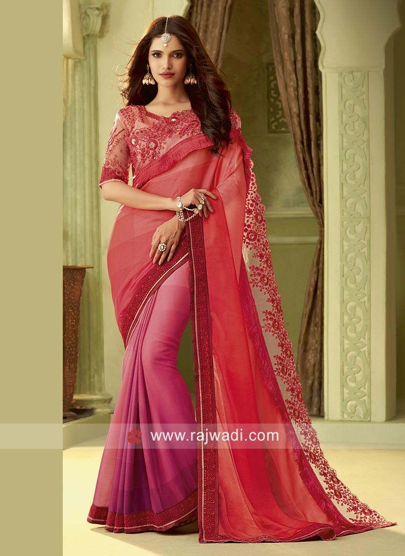Chiffon Silk Border Work Saree