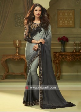 Chiffon Silk Border Work Saree with Blouse