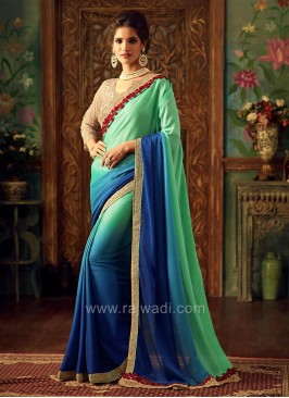 Chiffon Silk Border Work Shaded Saree