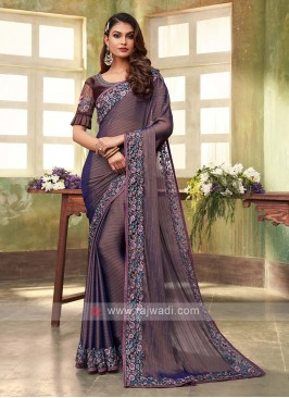 Chiffon Silk Brown Saree