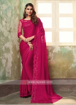Chiffon Silk Crimson Red Saree