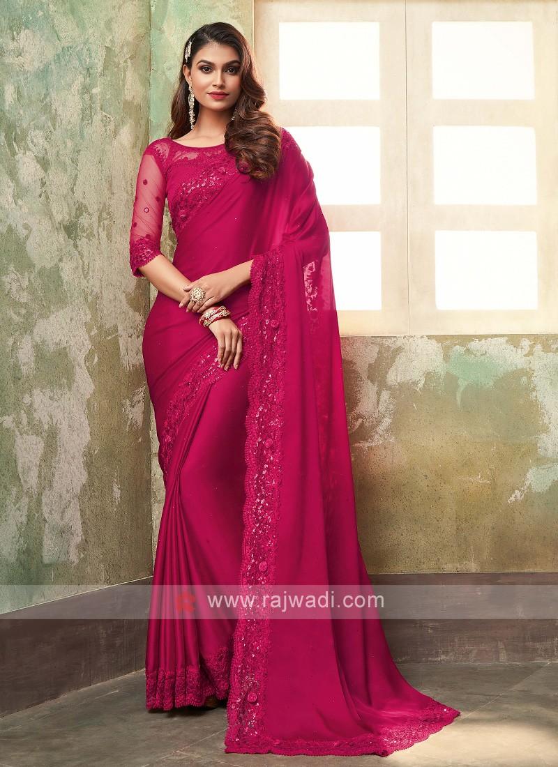 Chiffon Silk Crimson Red Saree