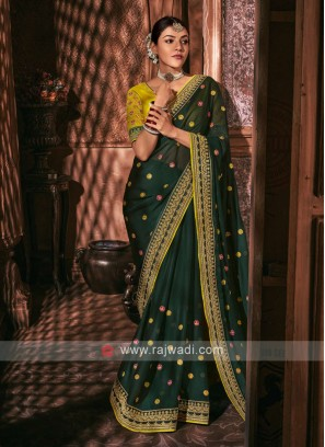 Chiffon Silk Dark Green Color Saree