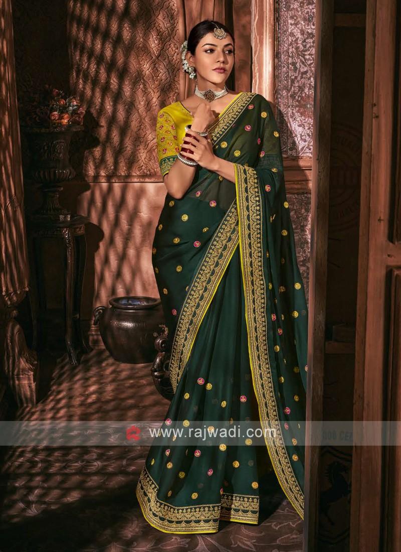 Chiffon Silk Dark Green Color Saree