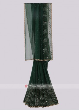Chiffon Silk Dark Green Saree
