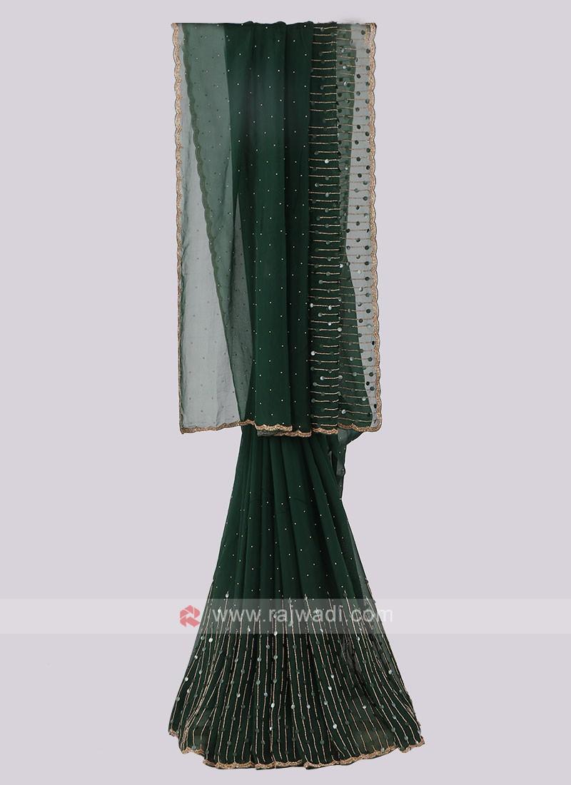Chiffon Silk Dark Green Saree