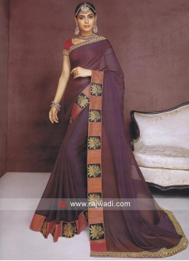 Chiffon Silk Designer Saree with Border