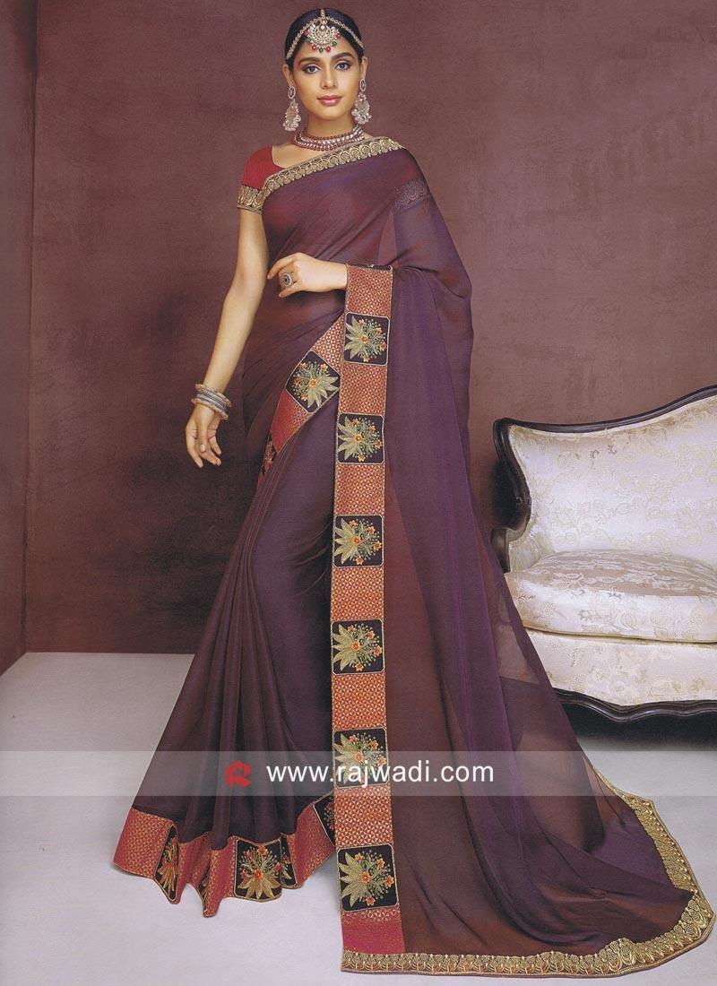 Chiffon Silk Designer Saree with Border