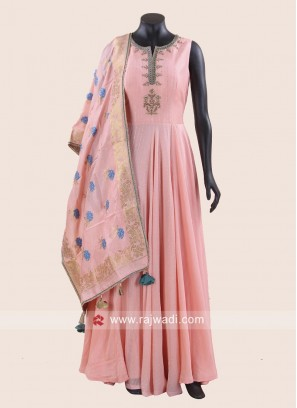 Chiffon Silk Floor Length Anarkali in Pink