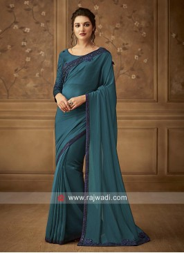 Chiffon Silk Flower Work Saree for Party