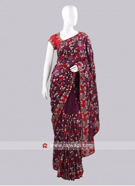 Chiffon Silk Flower Work Sari