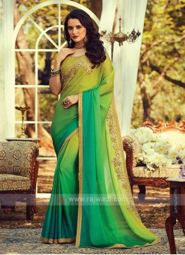 Chiffon Silk Green Shaded Saree