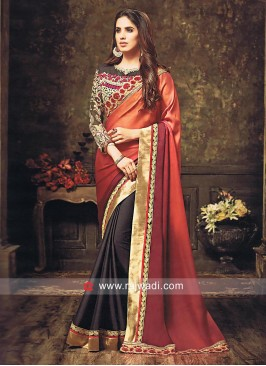 Chiffon Silk Half Sari with Net Blouse