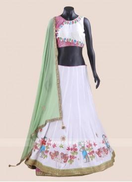 Chiffon Silk Kutchi Work Chaniya Choli