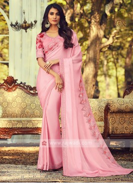 Chiffon Silk Light Pink Border Saree