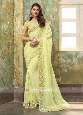 Chiffon Silk Liril Green Saree