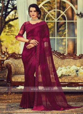 Chiffon Silk Magenta Border Saree