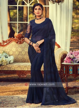 Chiffon Silk Navy Blue Border Saree