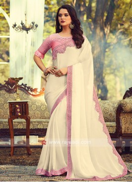 Chiffon Silk Off White Border Saree