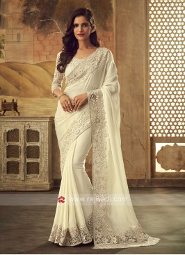 Chiffon Silk Off White Saree with Border