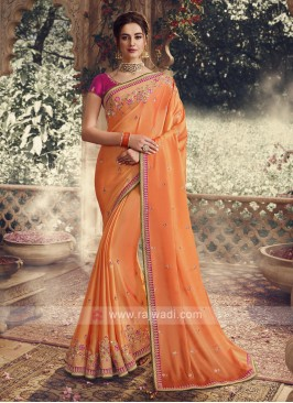 chiffon Silk Orange Saree