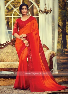 Chiffon Silk Orange Shaded Saree