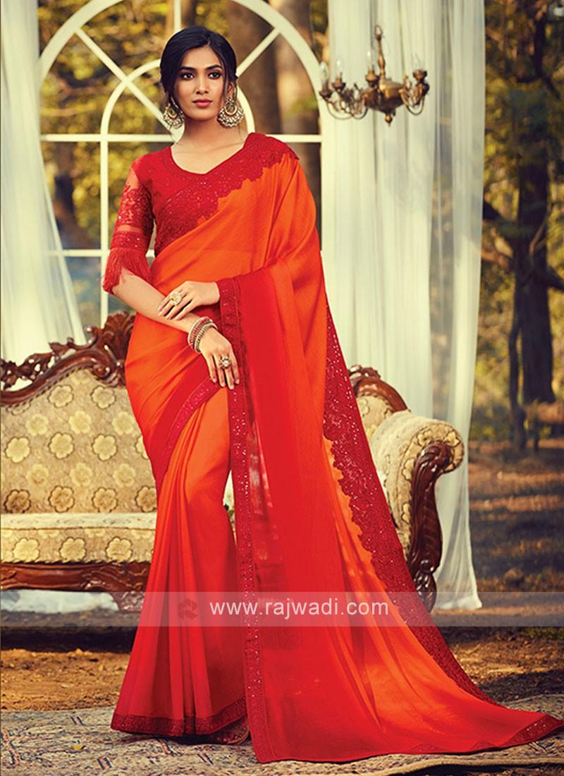 Chiffon Silk Orange Shaded Saree