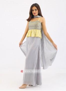 Chiffon Silk Palazzo Suit With Dupatta