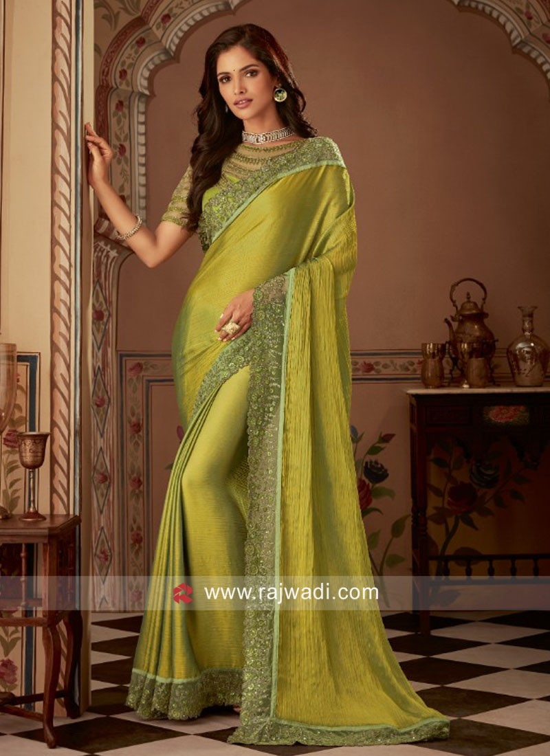 Chiffon Silk Party Wear Saree in Mehndi Green