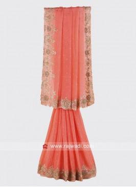 Chiffon Silk Peach Party Wear Saree