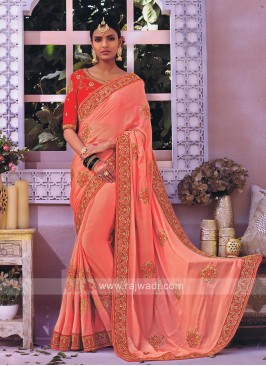Chiffon Silk Peach Saree