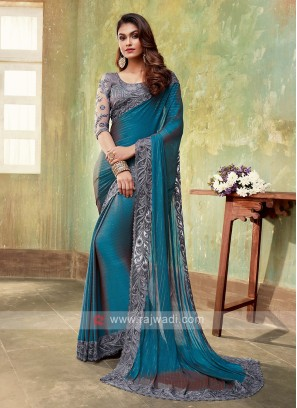 Chiffon Silk Peacock Blue Saree
