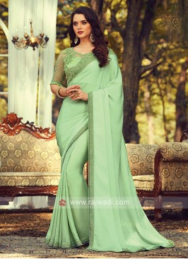 Chiffon Silk Pista Green Border Saree