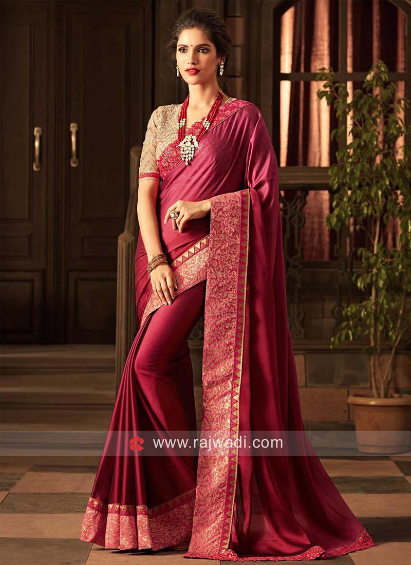Chiffon Silk Plain Saree with Heavy Border