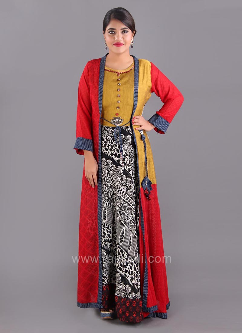 Chiffon Silk Printed Long Kurti with Jacket Style Koti