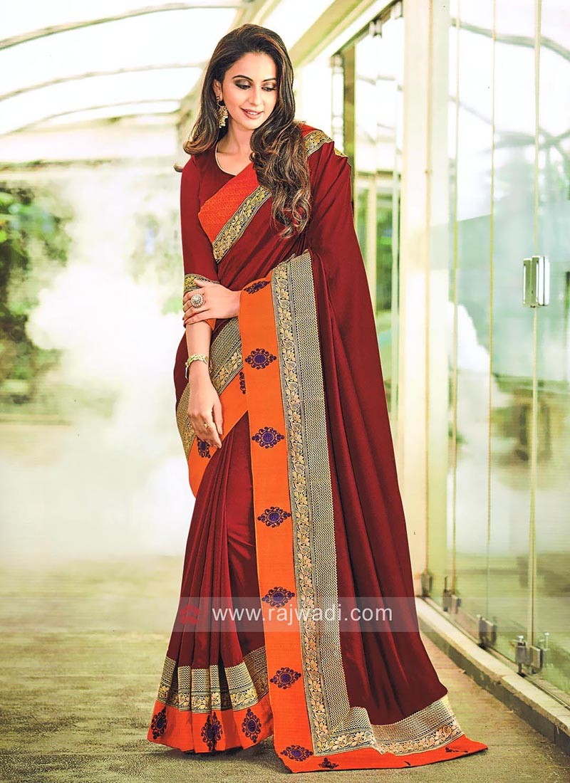 Chiffon Silk Rakul Preet Singh Sari in Dark Maroon