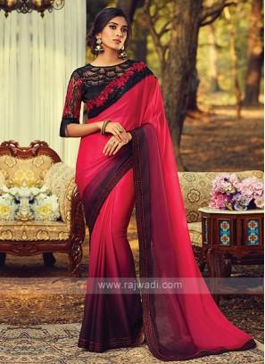 Chiffon Silk Red And Wine Shaded Saree